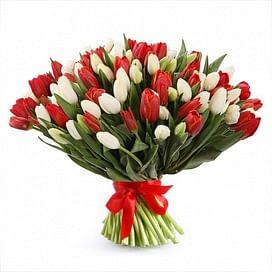 """Букет тюльпанов """"Красный и белый"""""""