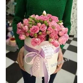 """Цветы в коробке """"Розовый рай"""" Кустовые розы"""