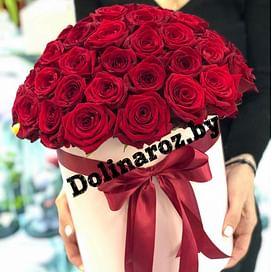 "Цветы в коробке ""Бордо"" 51 роза"