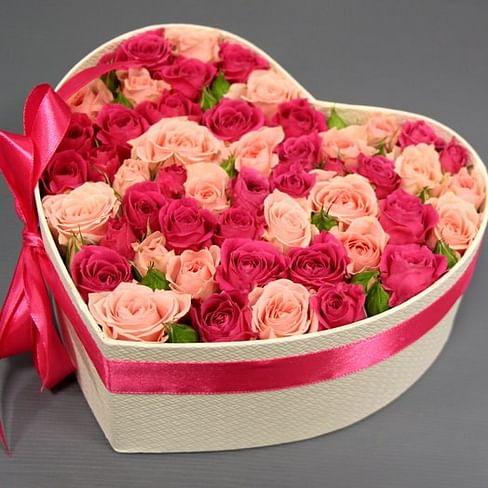 """Цветы в коробке """"Красное и Розовое"""""""