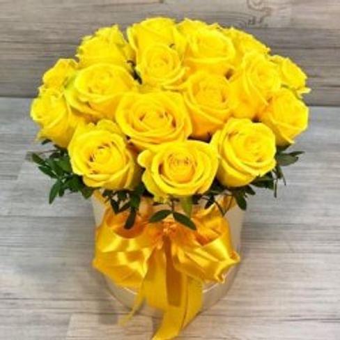 "Цветы в коробке ""Желтая"" 19 роз (Беларусь)"
