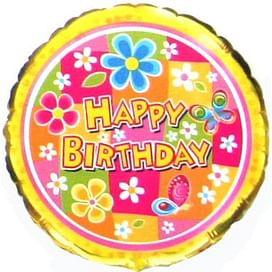 """Фольгированный шар """"Happy Birthday Цветы"""" 18″ (46 см)"""