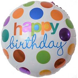 """Фольгированный шар """"Круг, С Днем Рождения (разноцветные круги)"""" 18″ (46 см)"""