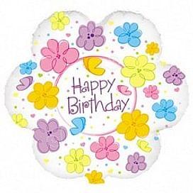 """Фольгированный шар """"Цветок С Днем рождения (бабочки и цветы)"""" 18″ (46 см)"""