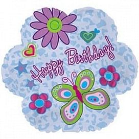 """Фольгированный шар """"Цветок, С Днем рождения (ромашки), Голубой"""" 18″ (46 см)"""
