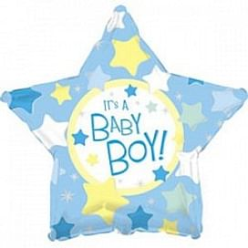 """Фольгированный шар """"С рождением мальчика"""" 18″ (46 см)"""