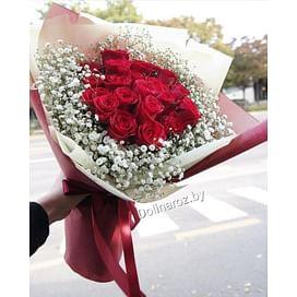 """Букет """"Красные розы и гипсофила"""" 21 роза"""
