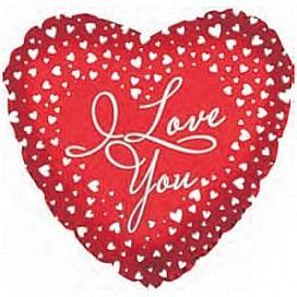"Фольгированный шар ""Сердце, Я люблю тебя (водопад сердец)"" 18″ (46 см)"