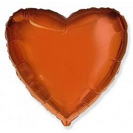 """Фольгированный шар """"Оранжевое сердце"""" 18″ (46 см)"""