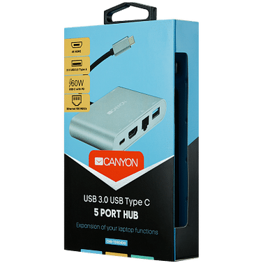 DS-4 Multiport Docking Station with 5 ports: 1*Type C male+1*HDMI+1*RJ45+2*USB3.0, Input 100-240V, Output USB-C PD 60W&USB-A 5V/1A, cabel length 0.11m, Rubber coating, Space grey Canyon