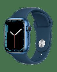 Apple Watch Series 7 GPS, 41mm Blue Aluminium Case with Abyss Blue Sport Band - Regular, A2473 Apple MKN13GK/A