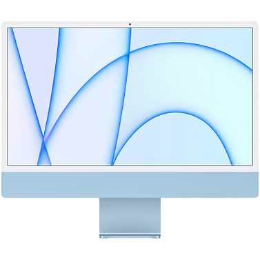 24-inch iMac with Retina 4.5K display: Apple M1 chip with 8-core CPU with 4 performance cores and 4 efficiency cores, 8-core GPU, and 16-core Neural Engine, 16GB unified memory, 1 TB SSD - Blue, Model A2438 Apple Custom