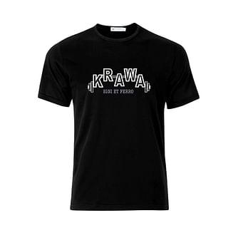 Футболки мужские черные с принтом на груди KRAWA