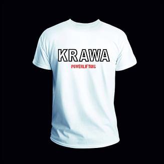 Футболки мужские белые с принтом на груди KRAWA