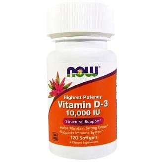 Витамин Д3, Vitamin D-3, Now Foods, 10 000 МЕ, 120 капсул, NOW