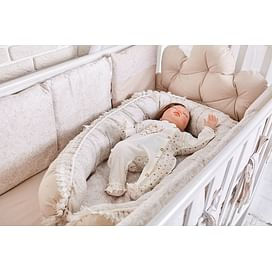 Комплект белья в детскую кроватку 6 предметов Облака (коричневый) 6804489792 (tam) ТОПОТУШКИ