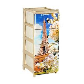 Комод (пластик) №1 с рисунком 'Эйфелева башня', бежевый, арт. 2994752733 Эльфпласт
