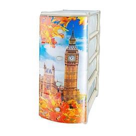 Комод пластиковый Арт. 304 Комод №4 с рисунком 'Лондон'4752740 Эльфпласт