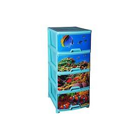 Комод пластиковый Арт. 321 Комод № 12 с рисунком 'Подводный мир4752753 Эльфпласт