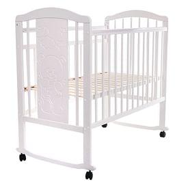 Кровать детская NOLI МИШУТКА Белый (колесо/качалка накладка PITUSO
