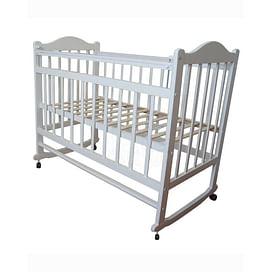 Кровать детская МОЙ МАЛЫШ 1 Белая (колесо/качалка накладка)