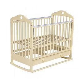 Кровать детская МОЙ МАЛЫШ 7 Слоновая кость (колесо/качалка ящик накладка) Сердечко