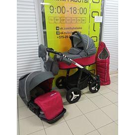 Коляска 3в1 (красный-серый) Baby Design Husky