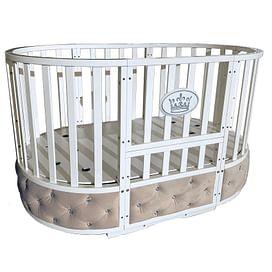Детская круглая/овальная кроватка с универсальным маятником Ray Alexa-2 Premium 6 в 1 (белый)