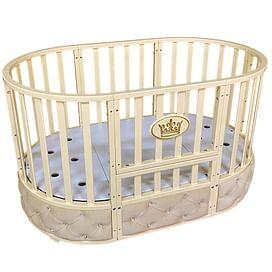 Детская круглая/овальная кроватка с универсальным маятником Ray Alexa-2 Premium 6 в 1 (слоновая кость)