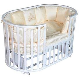 Детская круглая/овальная кроватка с универсальным маятником Ray Alexa-2 6 в 1 (белый)