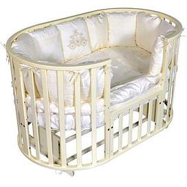 Детская круглая/овальная кроватка с универсальным маятником Ray Alexa-2 6 в 1 (слоновая кость)