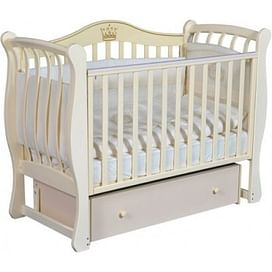 Кровать детская Ray KAROLINE 2 ( УНИВЕРСАЛЬНЫЙ МАЯТНИК + ЯЩИК ) (слоновая кость)