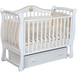 Кровать детская Ray KAROLINE 2 ( УНИВЕРСАЛЬНЫЙ МАЯТНИК + ЯЩИК ) (белая)