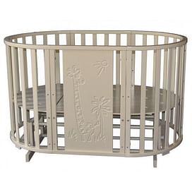 """Кровать детская Ray """"Luiza 2"""" Giraffe, универсальный маятник, колесо (слоновая кость)"""