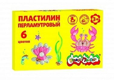 Пластилин плавающий Каляка-Маляка перламутровый 6 цв.(с золотым)72 г со стеком 3+ Артикул: 20851 ФАРМ АО Каляка-Маляка