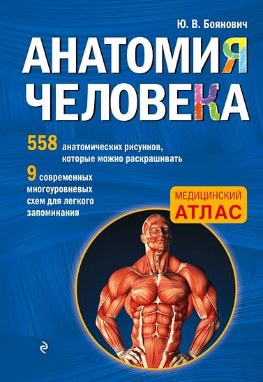 ММедАтлас/Анатомия человека со страницами для раскрашивания Артикул: 433 Эксмо Боянович Ю.В.