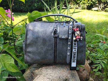 Женская сумка-трансформер из натуральной кожи модель 445 (графит)