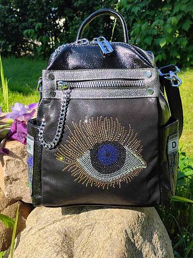 Рюкзак-трансформер из натуральной кожи модель 470 (черный)