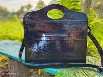 Женская сумка-портфель из натуральной кожи модель 473 (черный)
