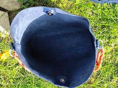 Сумка-шоппер из натуральной кожи модель 476 (глубокий синий )