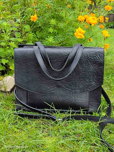 Женская сумка-портфель из натуральной кожи модель 479 (черный)