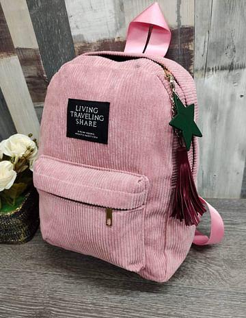 Рюкзак женский вельветовый модель 381 (розовый)