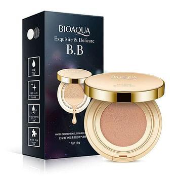 Кушон - тональный BB крем Exquisite & Delicate / Кушон с запасным сменным блоком 15+15g. Light beige Bioaqua