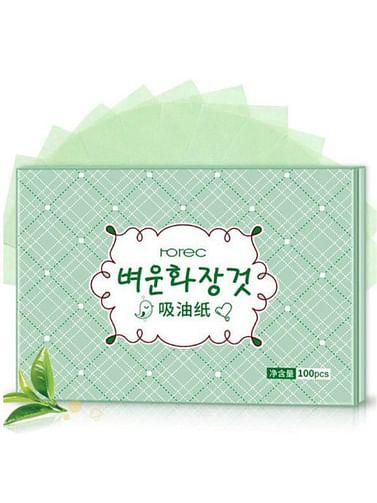 Матирующие салфетки с экстрактом зеленого чая (100 шт) Rorec