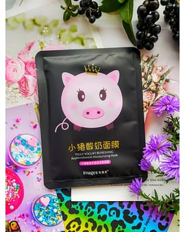 Йогуртовая лифтинг-маска для лица PIGGY YOGURT REFRESHING BLACK с бамбуком IMAGES