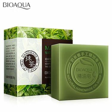 Натуральное мыло ручной работы с экстрактом чайного листа матча Matcha Natural Oil Soap, 100 гр. Bioaqua