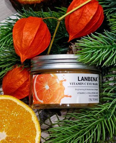 Осветляющие патчи под глаза VITAMIN C EYE MASK с витамином С и экстрактом корней байкальского шлемника 50 шт LANBENA