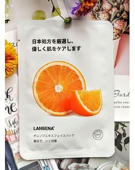 Отбеливающая тканевая маска для лица с экстрактом семян подсолнечника и апельсина 25 гр LANBENA