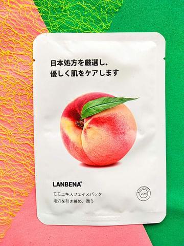Успокаивающая тканевая маска для лица с экстрактом персика для чувствительной кожи 25 гр LANBENA