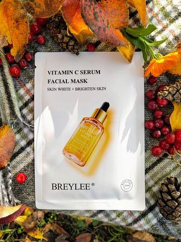 Осветляющая омолаживающая тканевая маска для лица с витамином С, 25 мл. BREYLEE